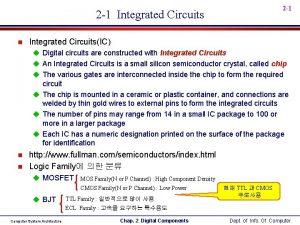 2 1 Integrated Circuits n Integrated CircuitsIC u