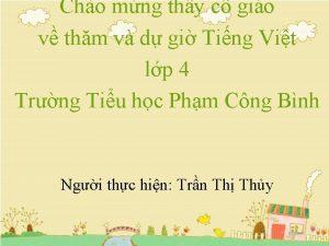 Cho mng thy c gio v thm v
