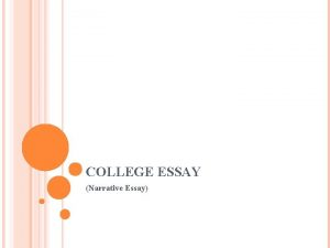 COLLEGE ESSAY Narrative Essay INCLASS ASSIGNMENT Research the