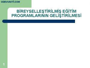 ODEVVAKT COM BREYSELLETRLM ETM PROGRAMLARININ GELTRLMES 1 Bireyselletirilmi