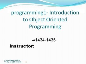 programming 1 Introduction to Object Oriented Programming 1434