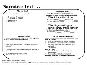 Narrative Text What does it say How does