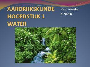 AARDRIJKSKUNDE HOOFDSTUK 1 WATER Van Anosha Nolle Hoofdstukken