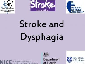 Stroke and Dysphagia Pathways Guidelines NICE pathway Stroke