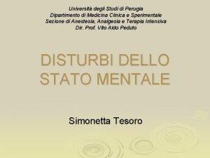 Universit degli Studi di Perugia Dipartimento di Medicina