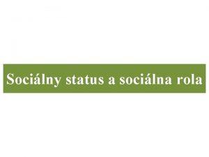 Socilny status a socilna rola Socilna pozcia kad