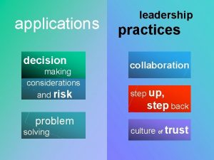 applications decision making considerations and risk problem solving