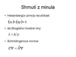 Shrnut z minula Heisenbergv princip neuritosti de Broglieho