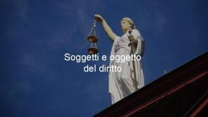Soggetti e oggetto del diritto La persona fisica