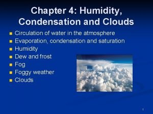 Chapter 4 Humidity Condensation and Clouds n n