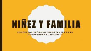 NIEZ Y FAMILIA CONCEPTOS TERICOS IMPORTANTES PARA COMPRENDER
