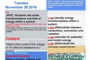 Tuesday November 29 2016 Note Project The review