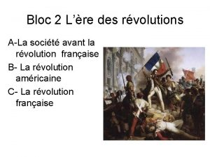 Bloc 2 Lre des rvolutions ALa socit avant