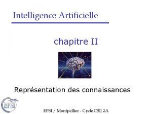 Intelligence Artificielle chapitre II Reprsentation des connaissances EPSI