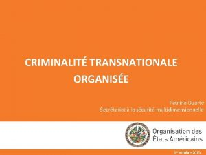 CRIMINALIT TRANSNATIONALE ORGANISE Paulina Duarte Secrtariat la scurit