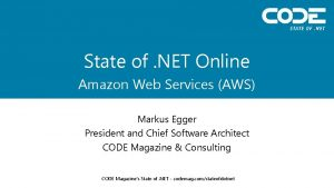 State of NET Online Amazon Web Services AWS