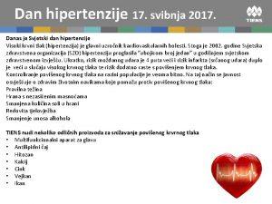 Dan hipertenzije 17 svibnja 2017 Danas je Svjetski