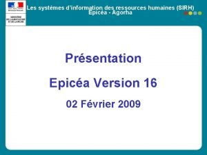 Les systmes dinformation des ressources humaines SIRH Epica