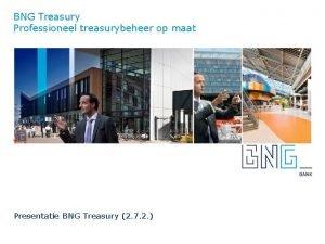 BNG Treasury Professioneel treasurybeheer op maat Presentatie BNG
