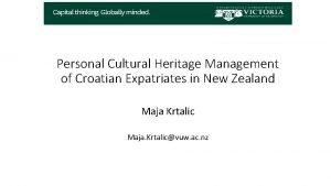 Personal Cultural Heritage Management of Croatian Expatriates in
