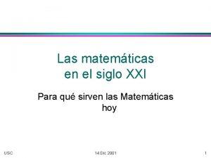 Las matemticas en el siglo XXI Para qu