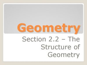 Geometry Section 2 2 The Structure of Geometry