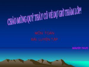MN TON BI LUYN TP NGI THC H