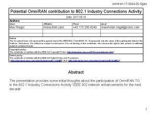 omniran17 0044 00 5 gaa Potential Omni RAN