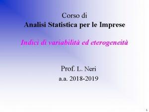 Corso di Analisi Statistica per le Imprese Indici