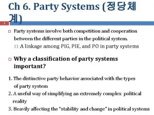 1 Ch 6 Party Systems Party systems involve