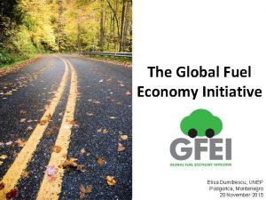 The Global Fuel Economy Initiative Elisa Dumitrescu UNEP