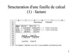 Structuration dune feuille de calcul 1 facture 1