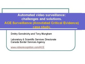 Automated video surveillance challenges and solutions ACE Surveillance