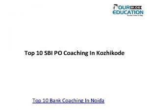 Top 10 SBI PO Coaching In Kozhikode Top
