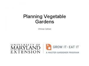 Planning Vegetable Gardens Chrissa Carlson A vegetable garden