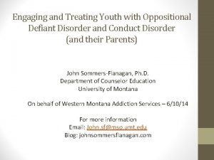 Engaging and Treating Youth with Oppositional Defiant Disorder