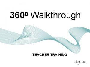 0 360 Walkthrough TEACHER TRAINING 3600 Walkthrough Goals