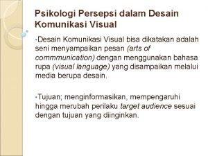 Psikologi Persepsi dalam Desain Komunikasi Visual Desain Komunikasi