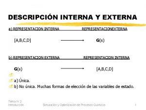 DESCRIPCIN INTERNA Y EXTERNA a REPRESENTACION INTERNA REPRESENTACIONEXTERNA
