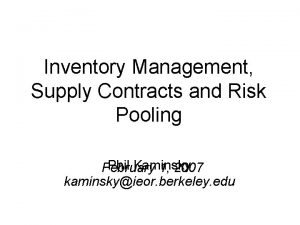 Inventory Management Supply Contracts and Risk Pooling Phil
