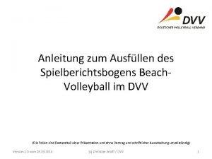 Anleitung zum Ausfllen des Spielberichtsbogens Beach Volleyball im