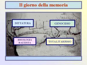 Il giorno della memoria DITTATURA IDEOLOGIA RAZZISTA GENOCIDIO