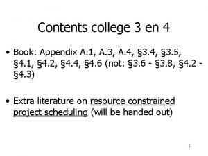 Contents college 3 en 4 Book Appendix A