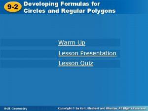 Developing Formulas for Developing Formulas 9 2 Circles
