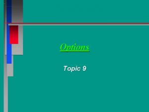Options Topic 9 I Options A Definition The