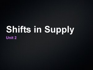 Shifts in Supply Unit 2 Supply Graph S