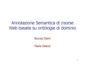Annotazione Semantica di risorse Web basata su ontologie