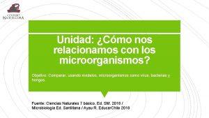 Unidad Cmo nos relacionamos con los microorganismos Objetivo