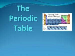 The Periodic Table Mendeleev Dmitri Mendeleev 1869 Russian