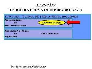 ATENO TERCEIRA PROVA DE MICROBIOLOGIA 27JUNHO TURMA DE